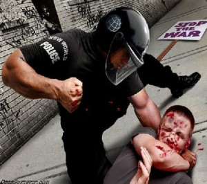 Police brutality with demonstrators in The US