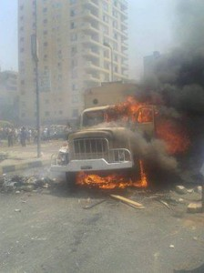 Brotherhood burned a military car in Nasr City