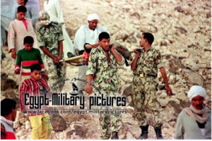 Egyptian Military carrying one of the tourists victims of the Luxor massacre 1997