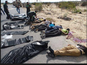Images of the 25 soldiers bodies after the have been shot dead by Muslim Brotherhood terrorists 19 Aug 2013 Rafah AlArish Sinai