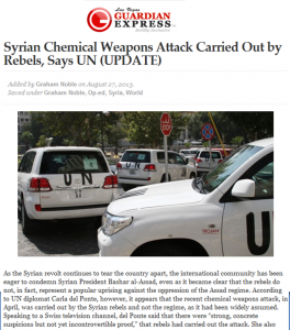 Syrian Chemicals weapons Attack carried out by rebels in Syria and Not Al-Assad Regime