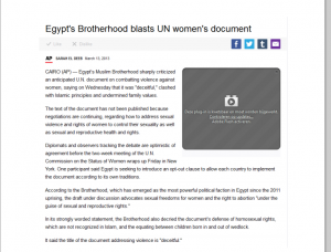 Brotherhood blasts UN women Document part 1