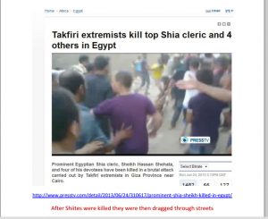 Brotherhood slaughtered 4 Shiites in Cairo Egypt