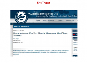 Eric Trager new republican said shame on anyone who ever thought Muslim Brotherhood  or mohammed morsi was a moderate or democratic