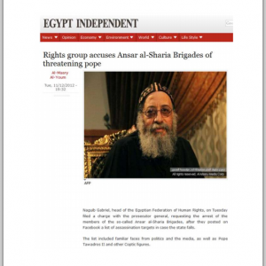Human rights groups accusing Islamist and supporters of Brotherhood of Threatening the Egyptian Christian Pope