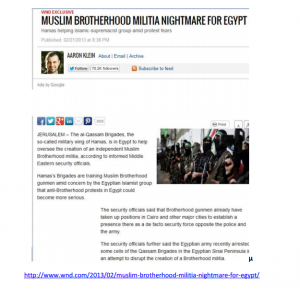 Muslim Brotherhood Militia Nightmare for Egypt