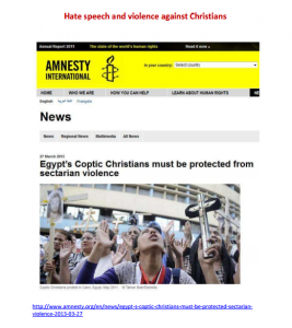 Muslim Brotherhood and Islamist Currents Hate speech and violence against Christians