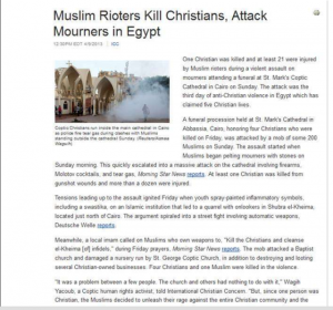Muslim Rioters Kill Christians and attack Mourners in Egypt