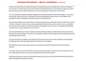 morsi and brotherhood constitution as reported by amnesty international part 2