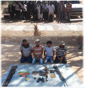Egyptian Military arrest terrorists elements and weapon smugglers in the Military south area