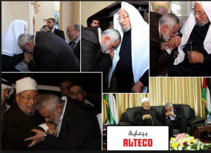Ismail Haneya leader of Hamas terrorists group kissing the hands of Qaradawi