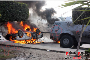 Muslim Brotherhood supporters burned private cars in Cairo
