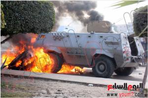 Muslim Brotherhood terrorists burned military troop carrier in Cairo nasr city