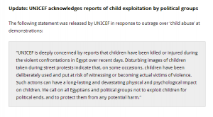 UNICEF condemned exploitation of Children in Violent protests of Muslim Brotherhood putting children in the front line
