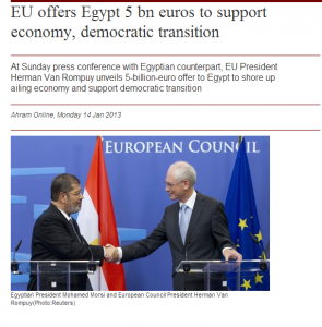 EU supports muslim brotherhood terrorist in Egypt