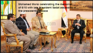 Mursi celebrating 6 Oct with late president sadat assassins