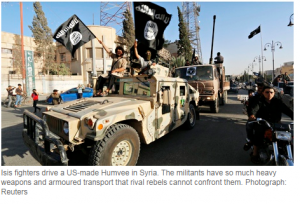 http://www.theguardian.com/world/2014/sep/08/isis-jihadis-using-arms-troop-carriers-supplied-by-us-saudi-arabia Reuters 8 September 2014