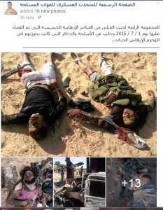 Egyptian armed forces killed terrorist elements in terror attacks on 1 July 2015 terrorists carried weapons and different ammunition