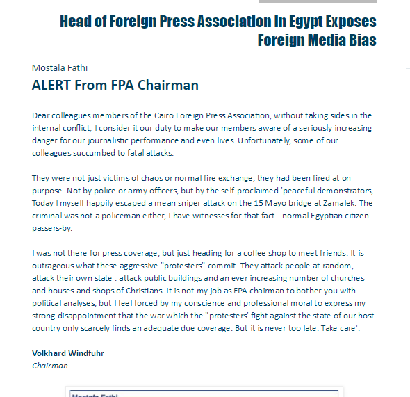 Head of Foreign Press Association in Egypt Exposes Foreign Media Bias